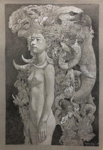 """""""Sketch for young nymph No.2"""" Size 78x52 cm Drawing 2018"""