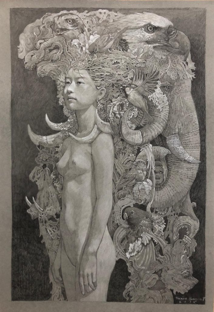 """Sketch for young nymph No.2"" Size 78x52 cm Drawing 2018"