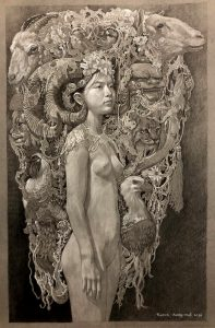 """""""Sketch for young nymph No.1"""" Size 78x52 cm Drawing 2018"""