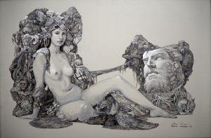"""Venus on The Shore"" Size : 86 x 128 cm Acylic on Wood 2019"