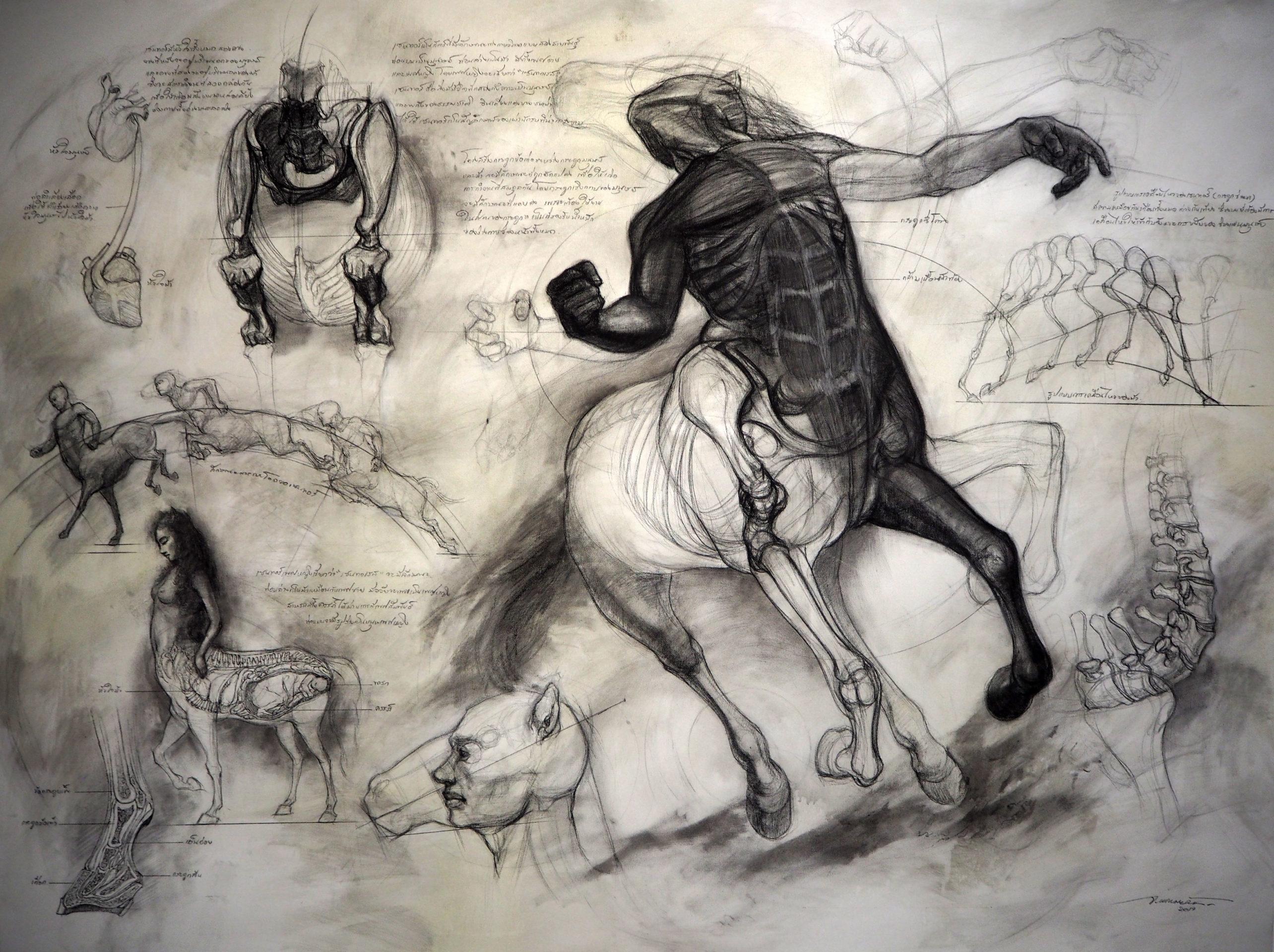 """""""เซนทอร์"""" (Centaur) Size 140 x 210 cm Charcoal on Canvas 2019"""