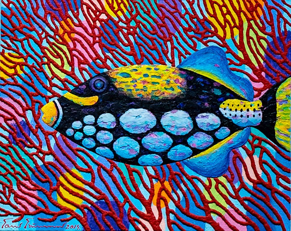 Opas Chotipanthawanon Clown Triggerfish  40 x 50 cm.  Acrylic on canvas  2019