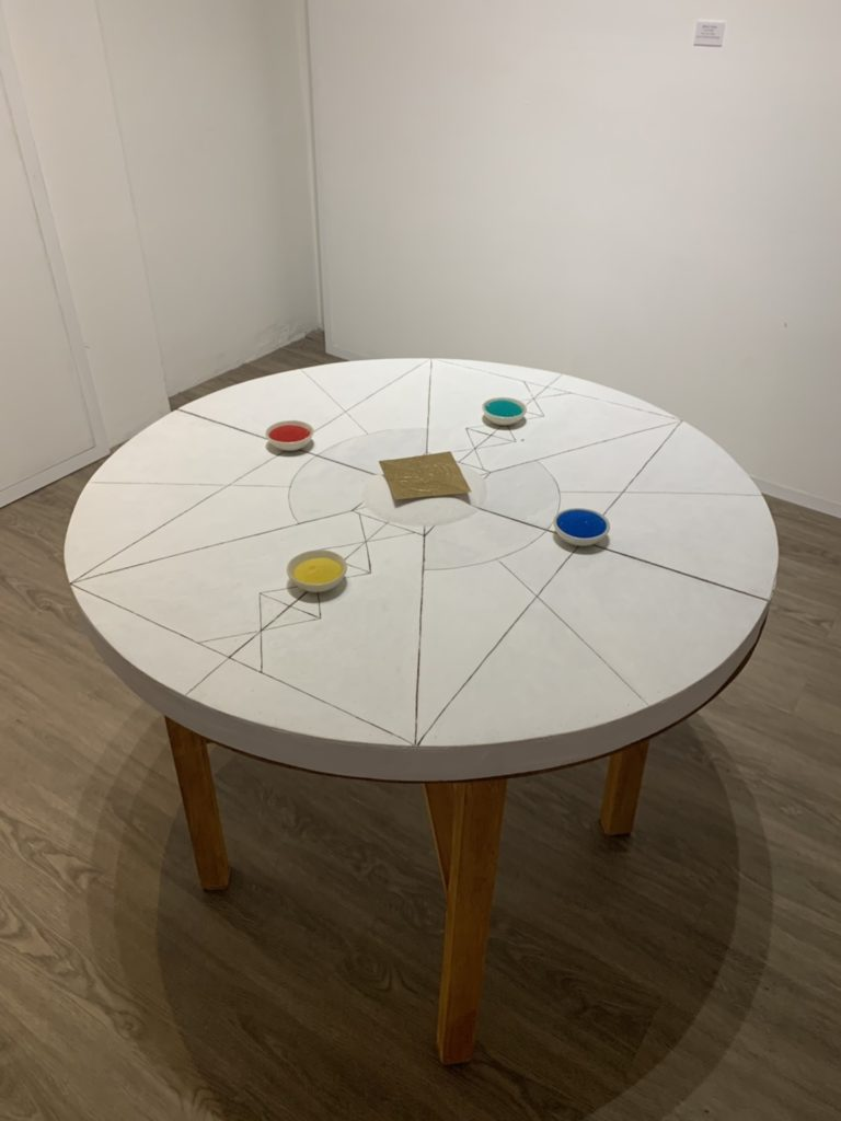Matthew Thomas From is Empty  size  76 cm. radius  Acrylic on Wood Panel with Table