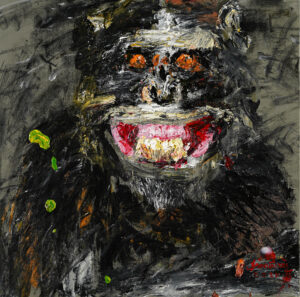 Monkey Face 5 50 x 50 cm. Acrylic on canvas